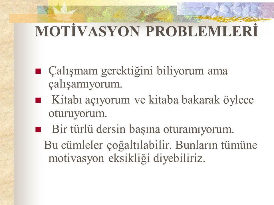 MOTİVASYON PROBLEMLERİ