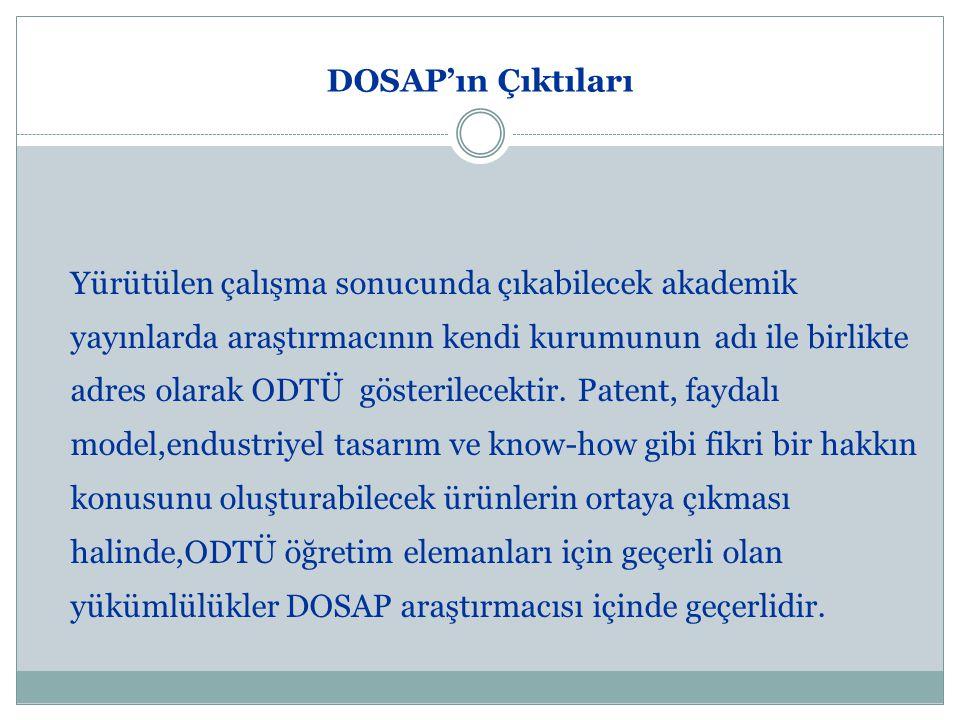 DOSAP'ın Çıktıları