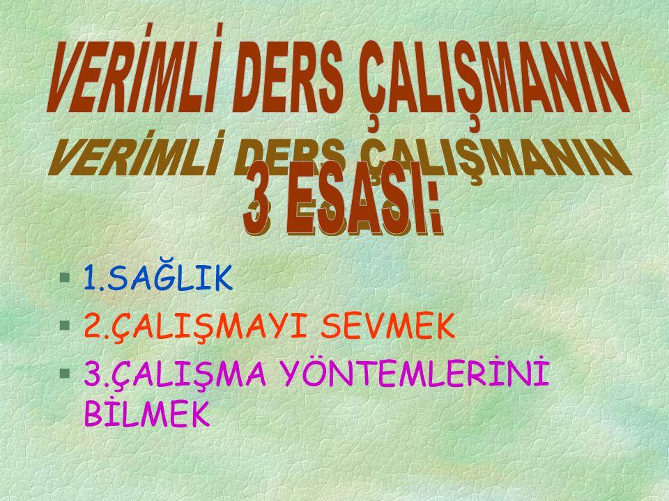 VERİMLİ DERS ÇALIŞMANIN