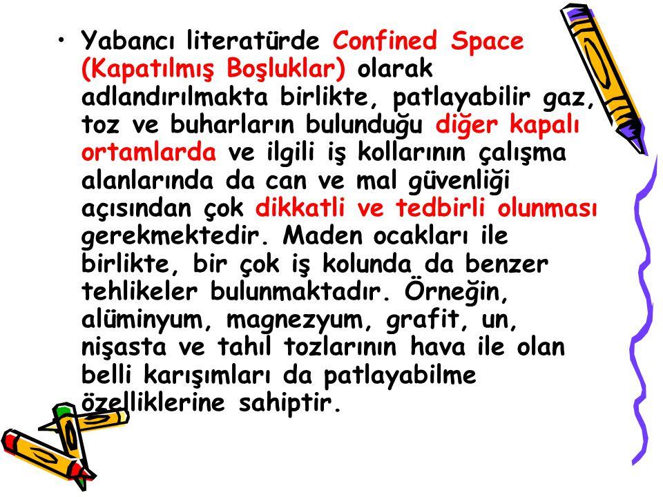 Yabancı literatürde Confined Space (Kapatılmış Boşluklar) olarak adlandırılmakta birlikte, patlayabilir gaz, toz ve buharların bulunduğu diğer kapalı ortamlarda ve ilgili iş kollarının çalışma alanlarında da can ve mal güvenliği açısından çok dikkatli ve tedbirli olunması gerekmektedir.