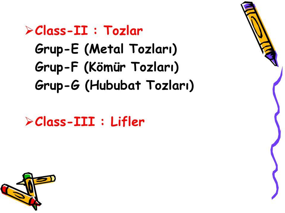Class-II : Tozlar Grup-E (Metal Tozları) Grup-F (Kömür Tozları) Grup-G (Hububat Tozları) Class-III : Lifler.