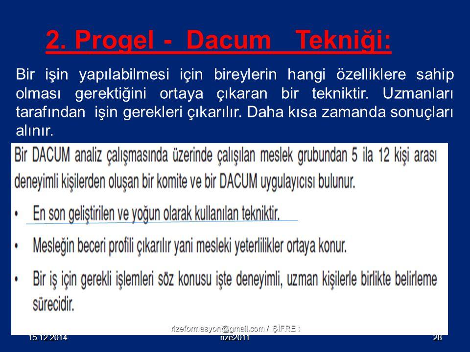 2. Progel - Dacum Tekniği: