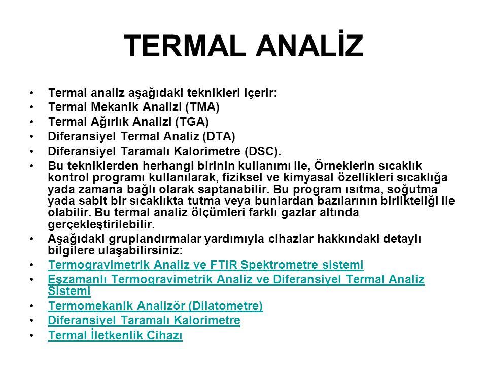 TERMAL ANALİZ Termal analiz aşağıdaki teknikleri içerir: