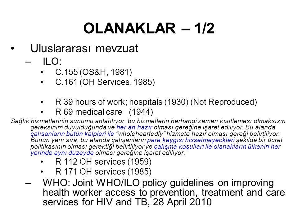 OLANAKLAR – 1/2 Uluslararası mevzuat ILO: