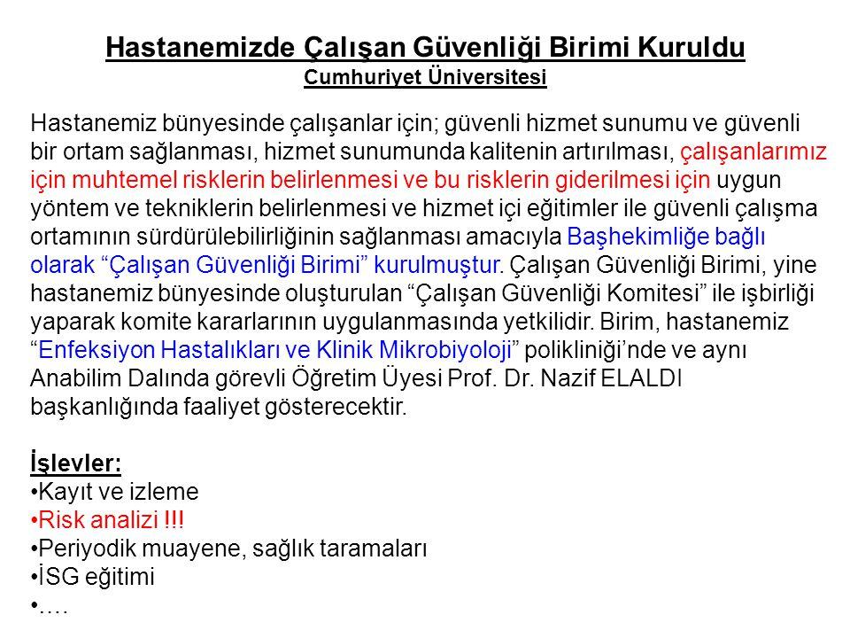 Hastanemizde Çalışan Güvenliği Birimi Kuruldu Cumhuriyet Üniversitesi