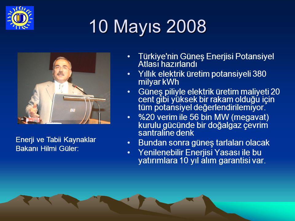 10 Mayıs 2008 Türkiye nin Güneş Enerjisi Potansiyel Atlası hazırlandı