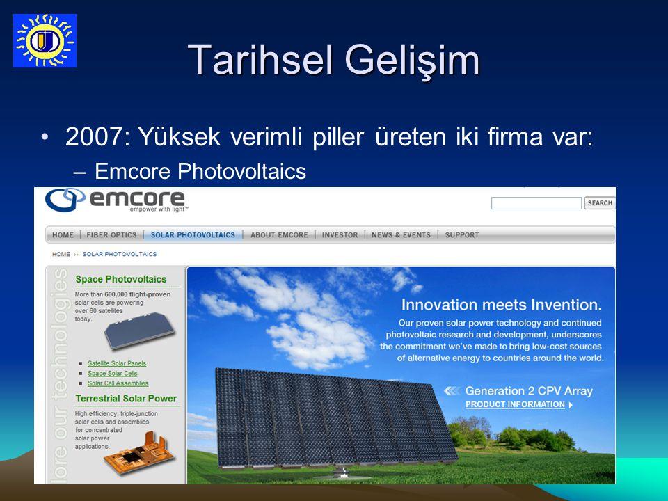 Tarihsel Gelişim 2007: Yüksek verimli piller üreten iki firma var: