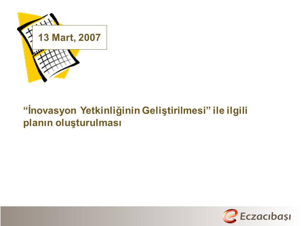 13 Mart, 2007 İnovasyon Yetkinliğinin Geliştirilmesi ile ilgili planın oluşturulması