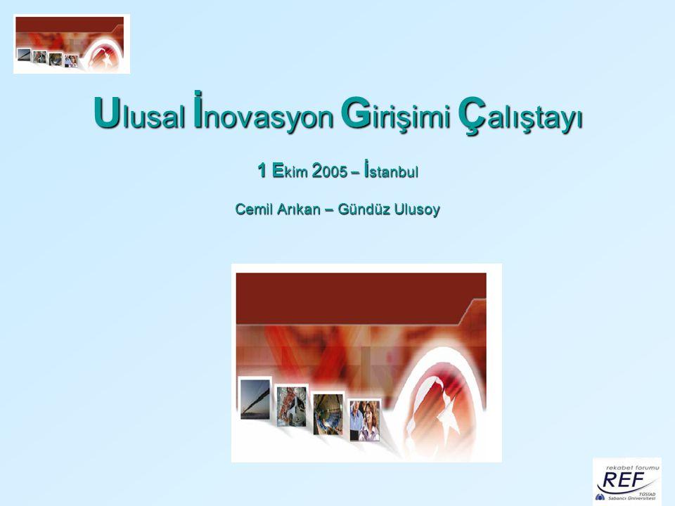 Ulusal İnovasyon Girişimi Çalıştayı 1 Ekim 2005 – İstanbul Cemil Arıkan – Gündüz Ulusoy