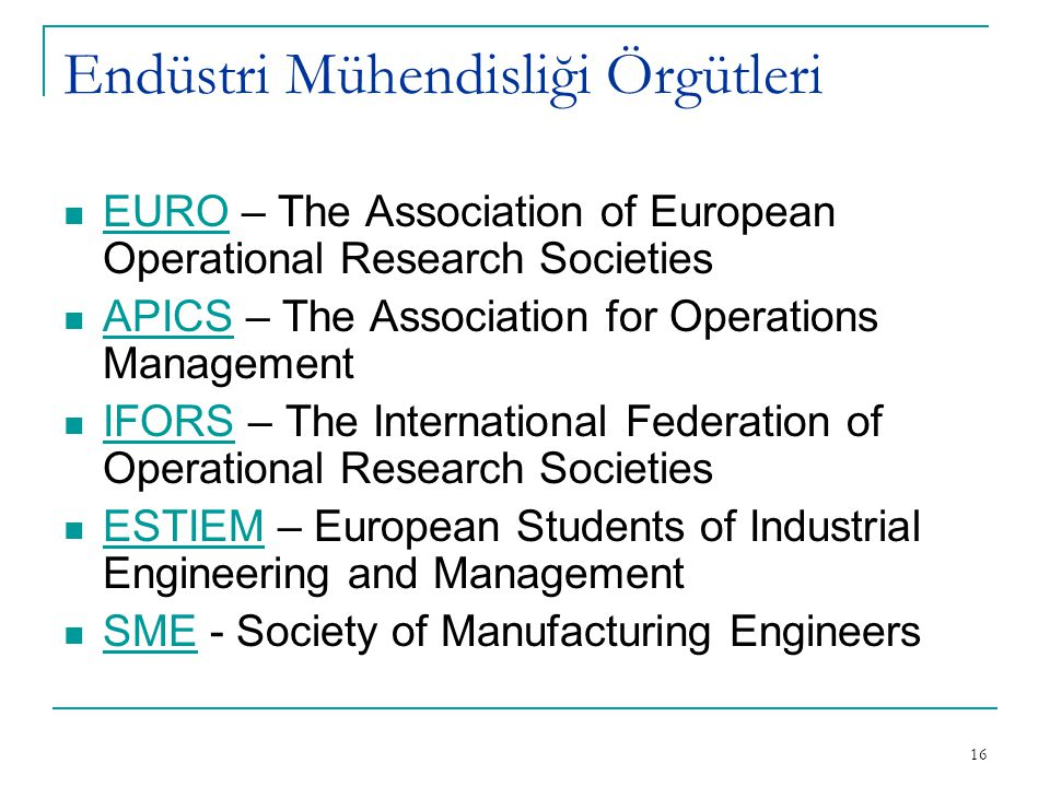 Endüstri Mühendisliği Örgütleri
