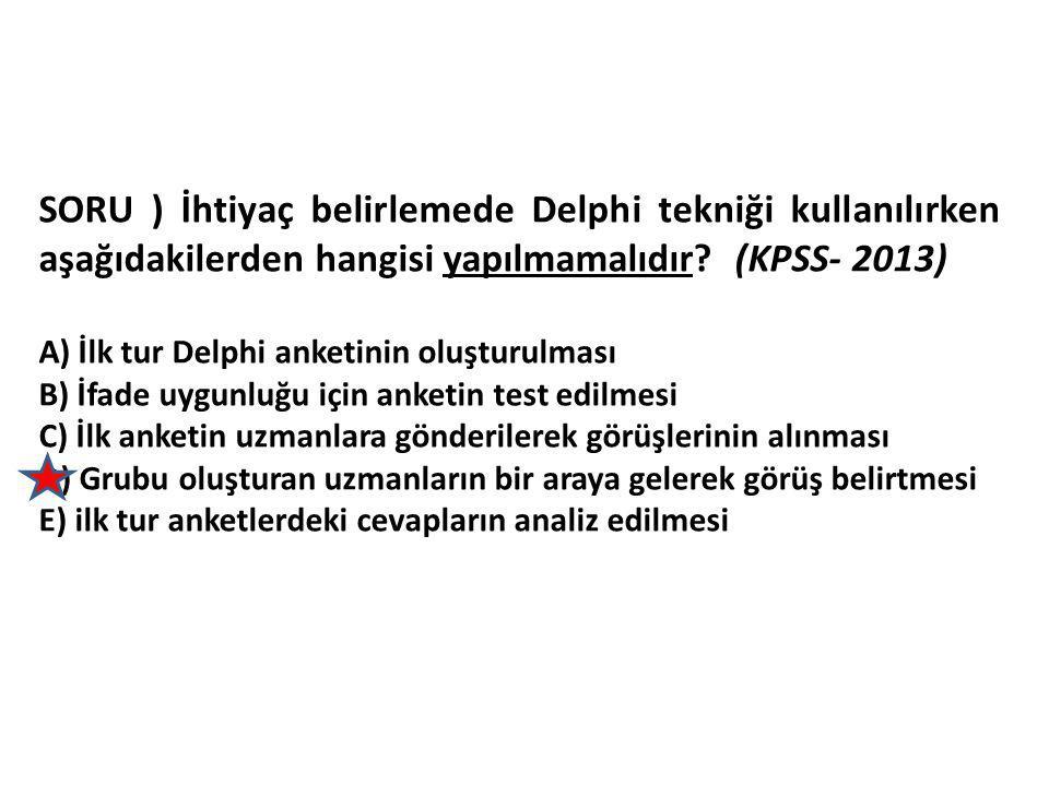 SORU ) İhtiyaç belirlemede Delphi tekniği kullanılırken aşağıdakilerden hangisi yapılmamalıdır (KPSS- 2013)