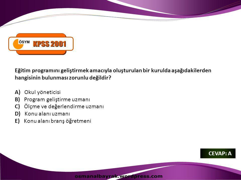 KPSS 2001 osmanalbayrak.wordpress.com