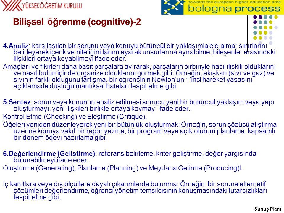 Bilişsel öğrenme (cognitive)-2