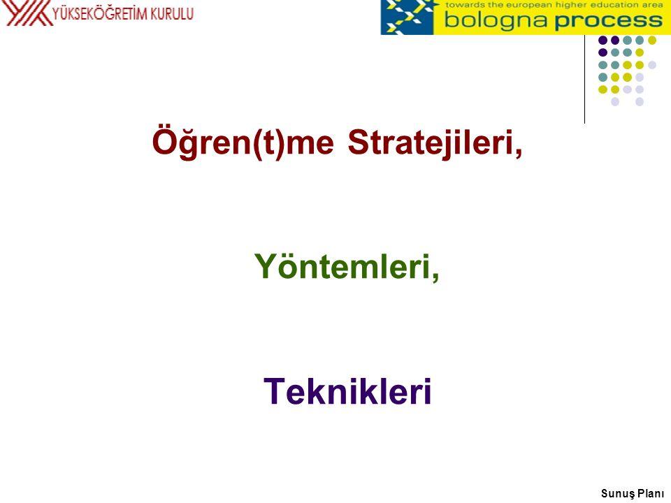 Öğren(t)me Stratejileri, Yöntemleri, Teknikleri