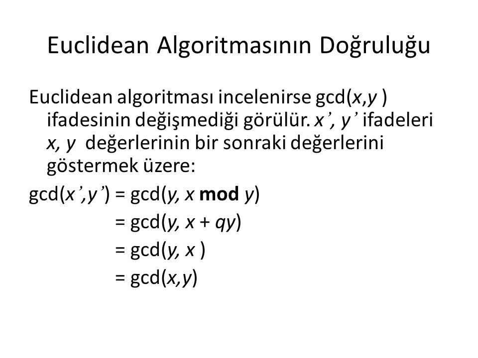 Euclidean Algoritmasının Doğruluğu