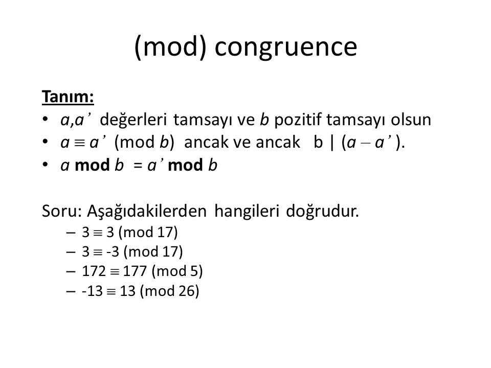 (mod) congruence Tanım:
