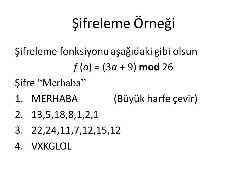 Şifreleme Örneği Şifreleme fonksiyonu aşağıdaki gibi olsun