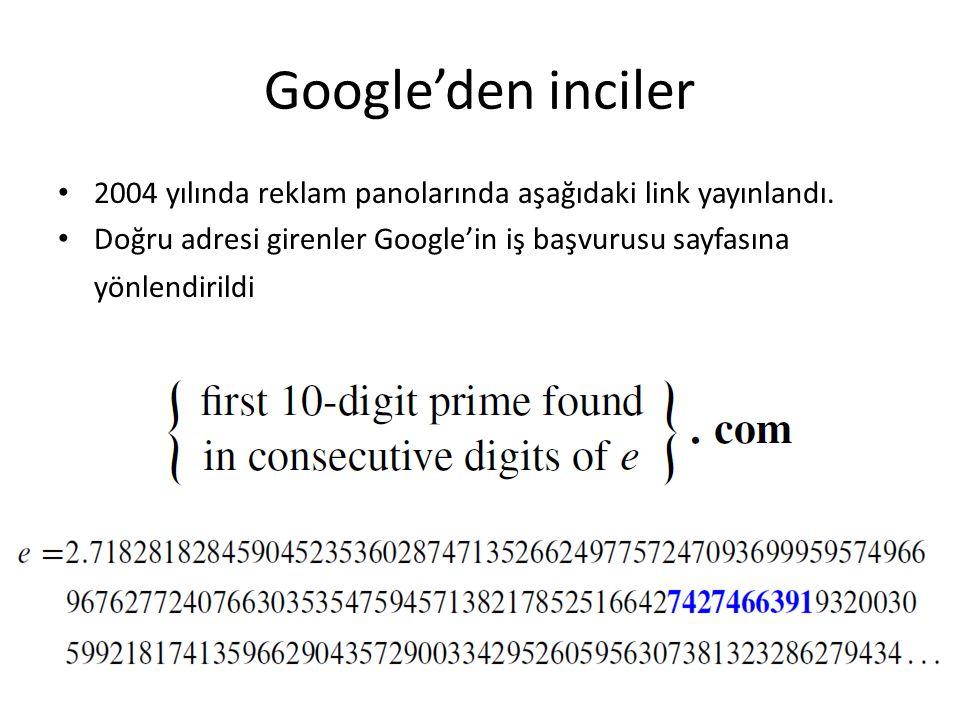Google'den inciler 2004 yılında reklam panolarında aşağıdaki link yayınlandı.