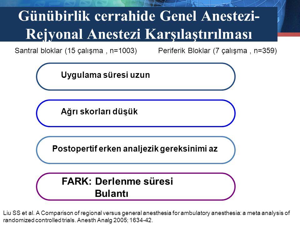 Günübirlik cerrahide Genel Anestezi-Rejyonal Anestezi Karşılaştırılması