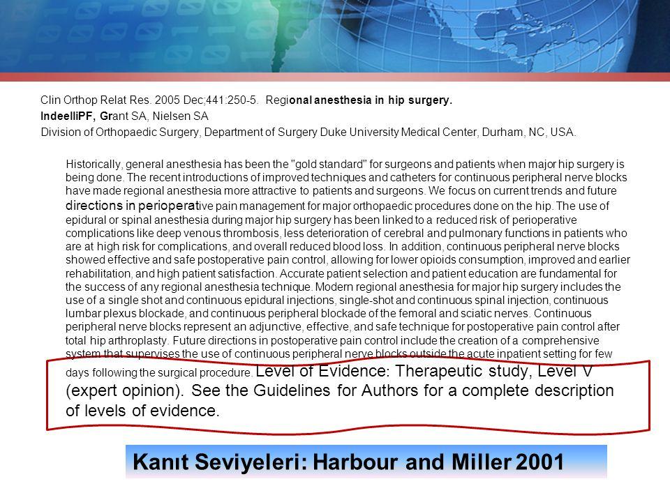 Kanıt Seviyeleri: Harbour and Miller 2001