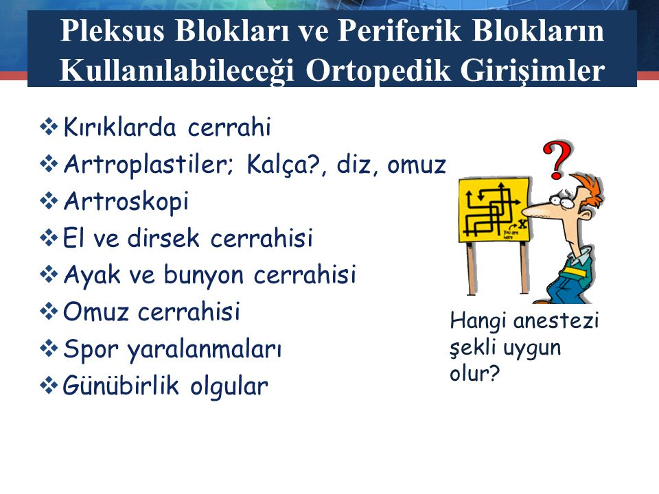 Pleksus Blokları ve Periferik Blokların Kullanılabileceği Ortopedik Girişimler