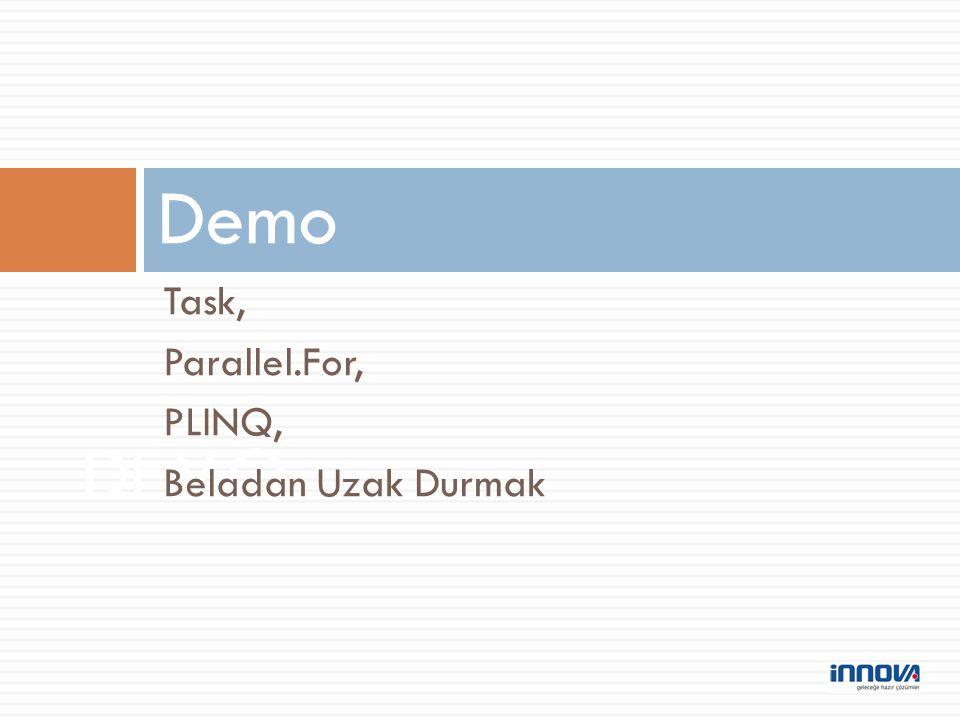 Demo Task, Parallel.For, PLINQ, Beladan Uzak Durmak DEMO