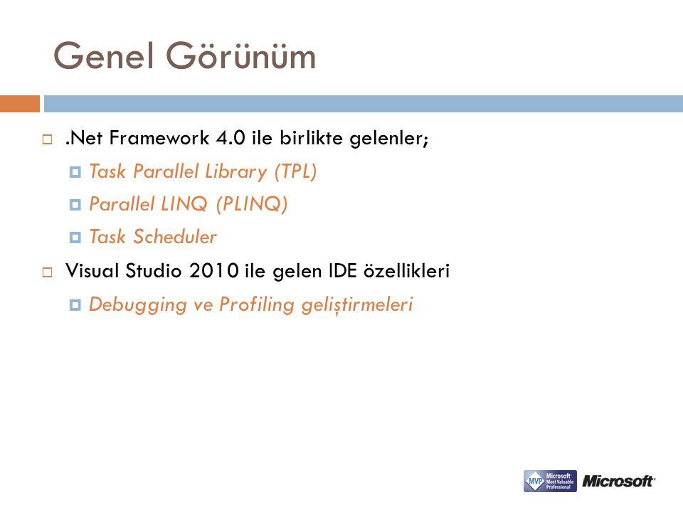 Genel Görünüm .Net Framework 4.0 ile birlikte gelenler;