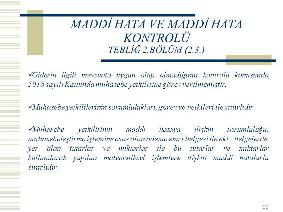 MADDİ HATA VE MADDİ HATA KONTROLÜ TEBLİĞ 2.BÖLÜM (2.3.)
