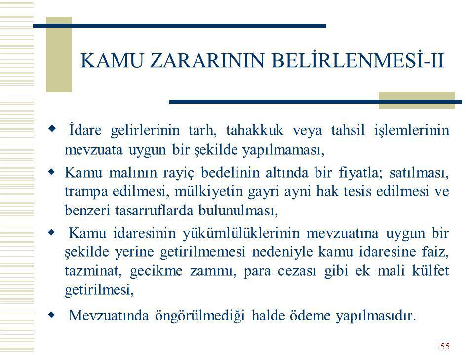 KAMU ZARARININ BELİRLENMESİ-II