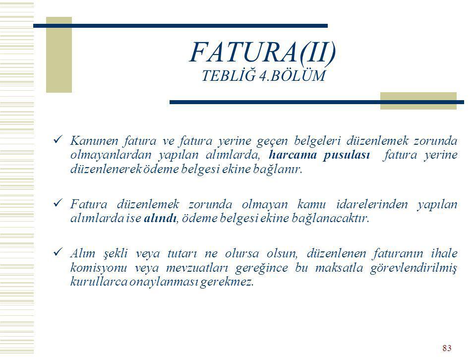 FATURA(II) TEBLİĞ 4.BÖLÜM