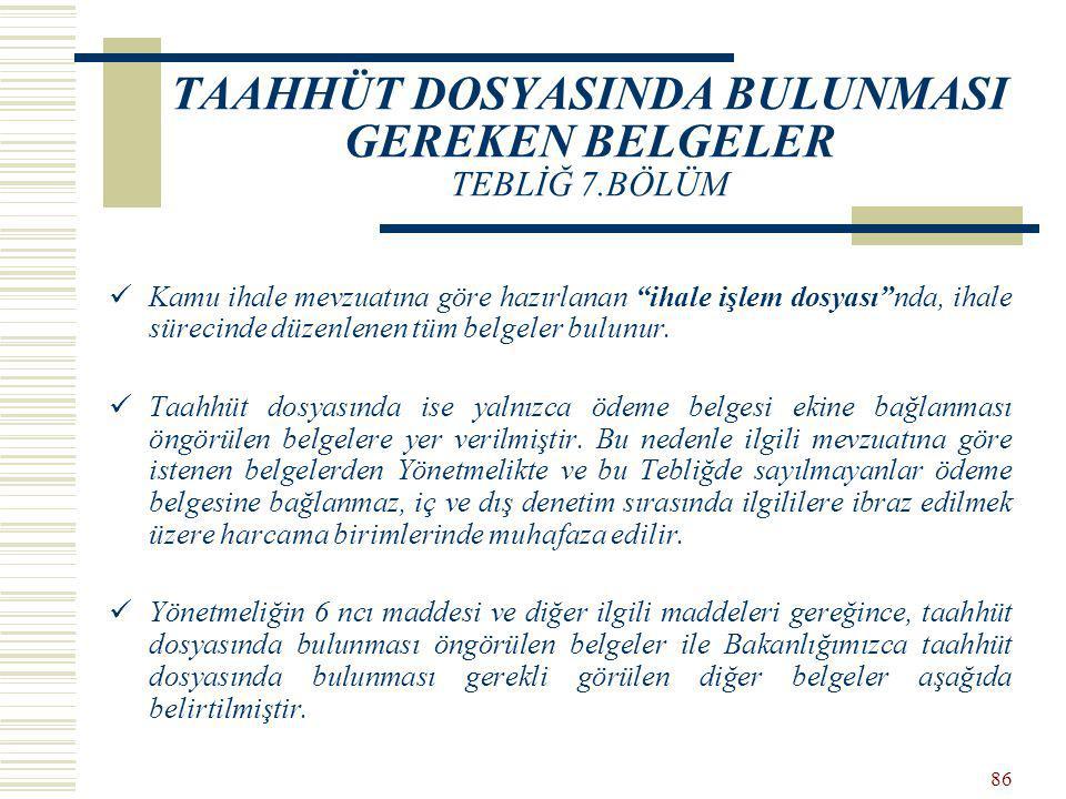 TAAHHÜT DOSYASINDA BULUNMASI GEREKEN BELGELER TEBLİĞ 7.BÖLÜM