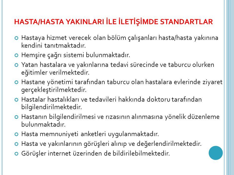 HASTA/HASTA YAKINLARI İLE İLETİŞİMDE STANDARTLAR