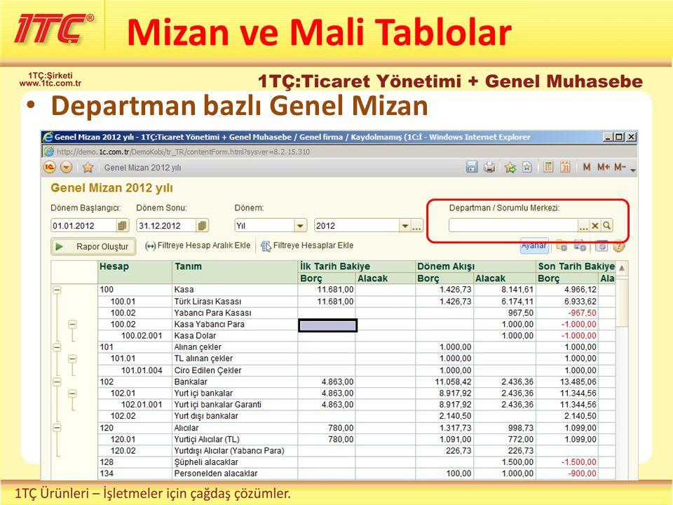Mizan ve Mali Tablolar Departman bazlı Genel Mizan