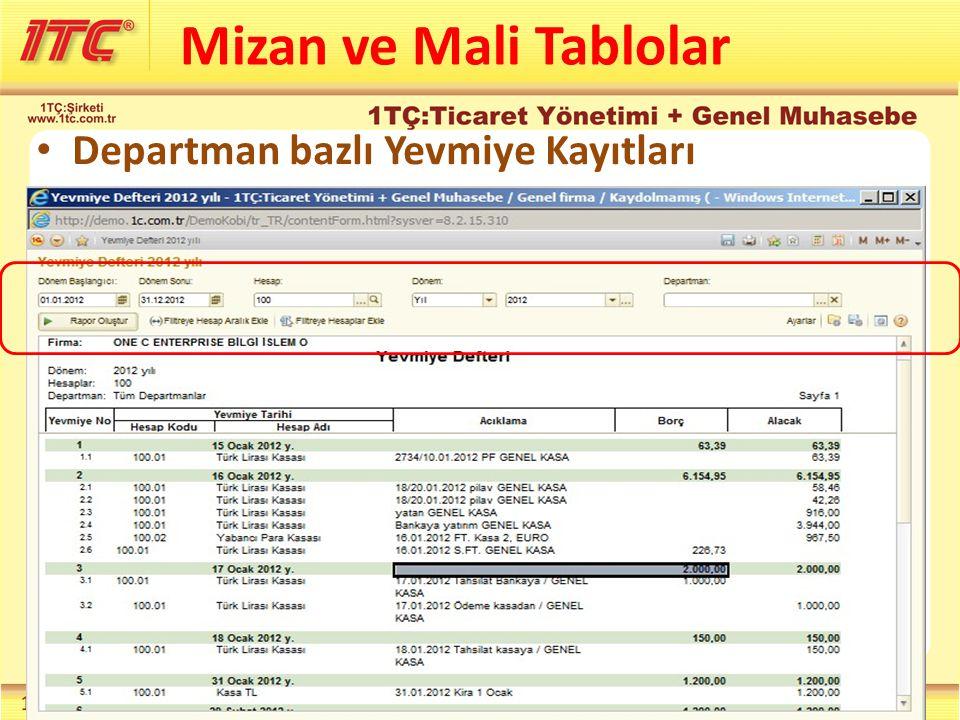 Mizan ve Mali Tablolar Departman bazlı Yevmiye Kayıtları