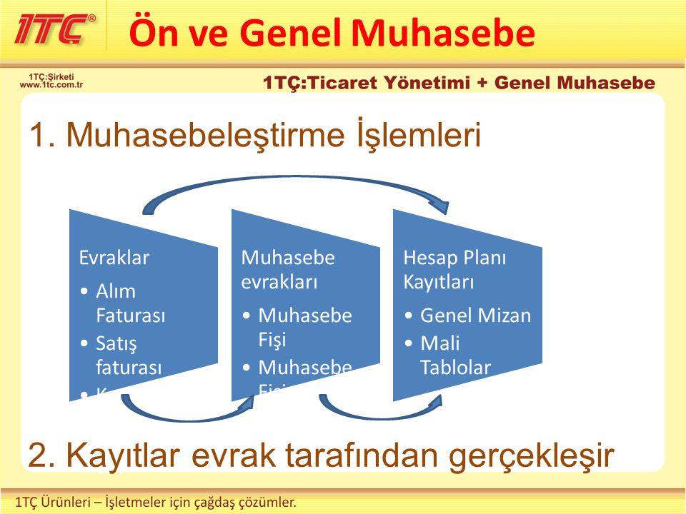 Ön ve Genel Muhasebe 1. Muhasebeleştirme İşlemleri