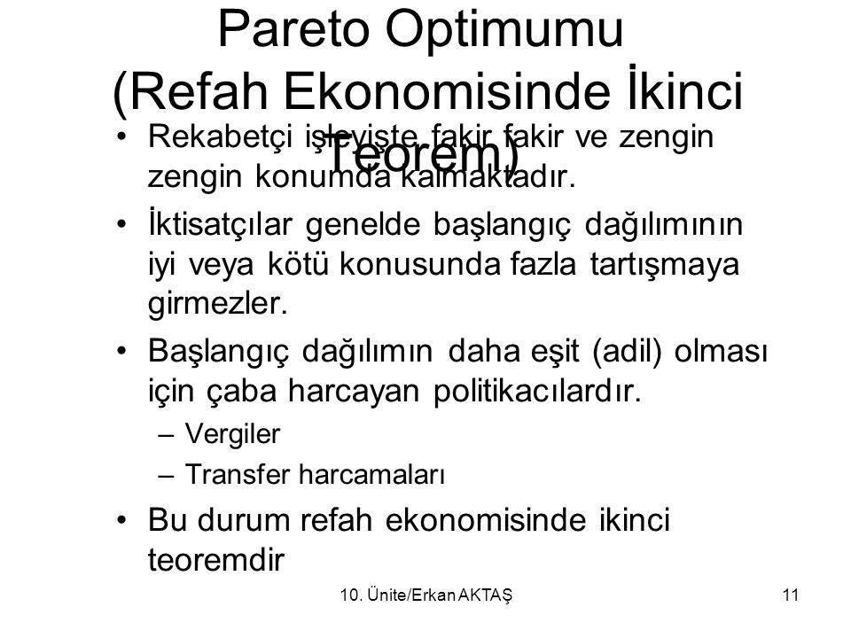 Diğer Değişim Olanakları ve Pareto Optimumu (Refah Ekonomisinde İkinci Teorem)