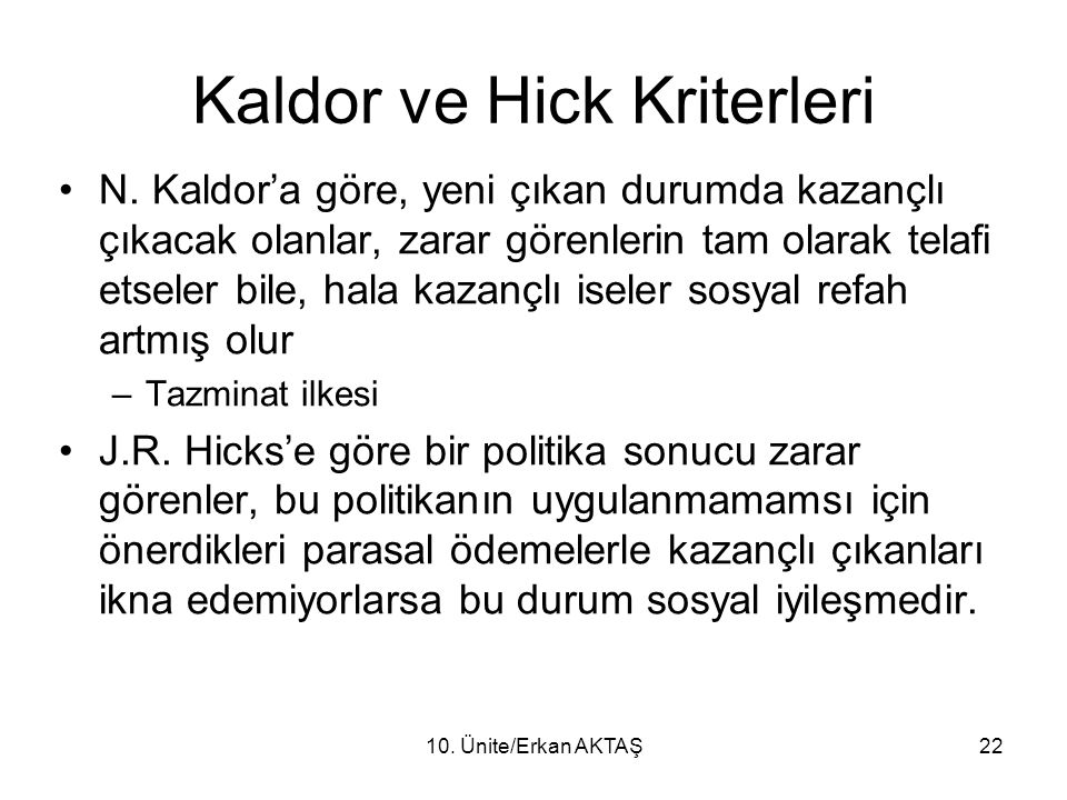 Kaldor ve Hick Kriterleri