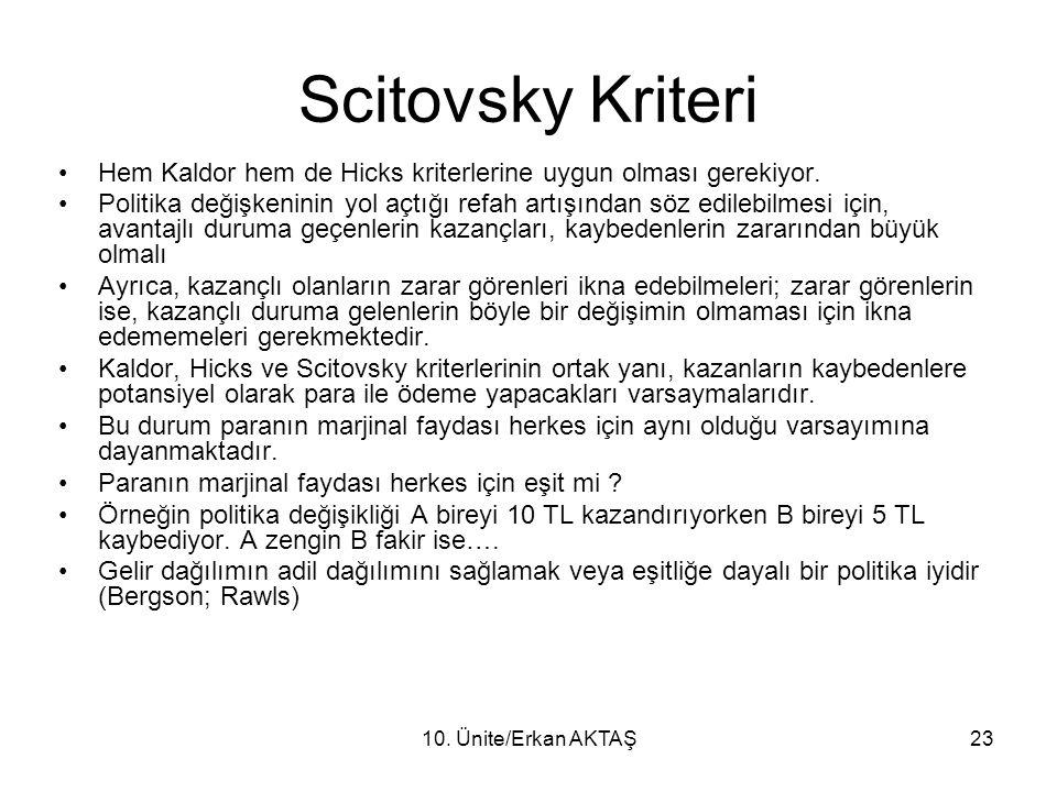 Scitovsky Kriteri Hem Kaldor hem de Hicks kriterlerine uygun olması gerekiyor.