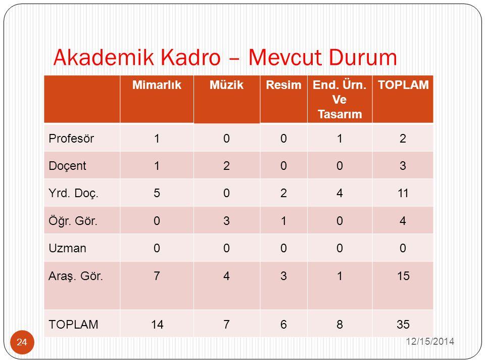 Akademik Kadro – Mevcut Durum