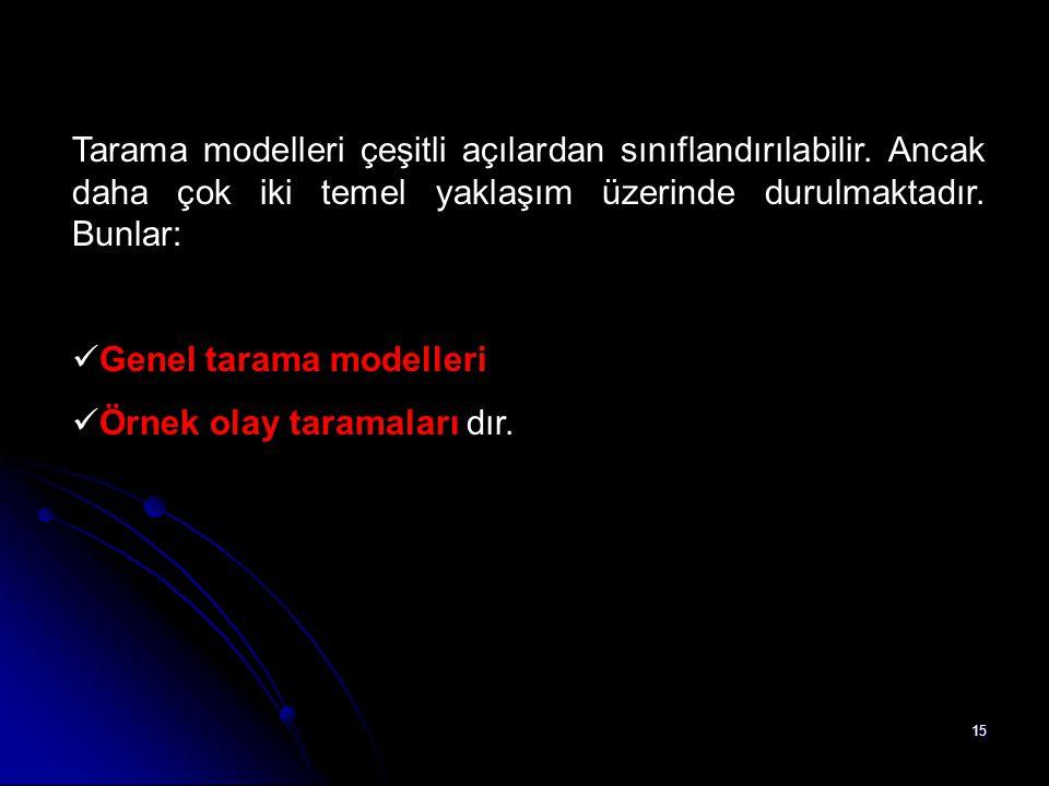 Tarama modelleri çeşitli açılardan sınıflandırılabilir