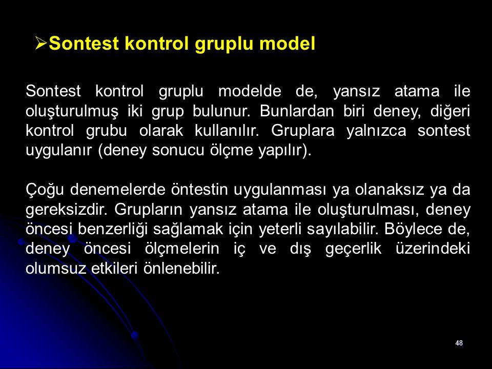 Sontest kontrol gruplu model