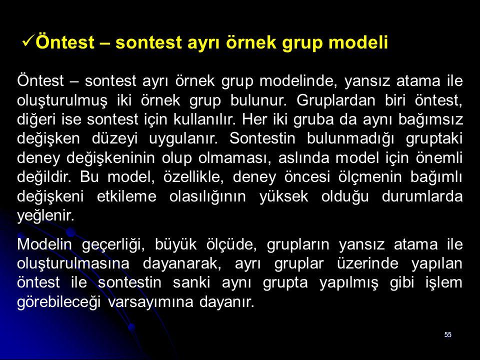 Öntest – sontest ayrı örnek grup modeli