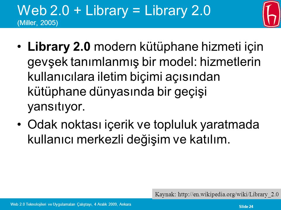 Web 2.0 + Library = Library 2.0 (Miller, 2005)
