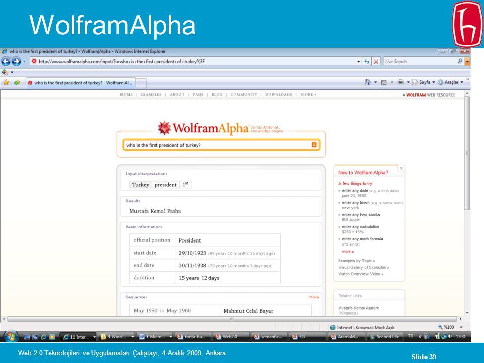 WolframAlpha Web 2.0 Teknolojileri ve Uygulamaları Çalıştayı, 4 Aralık 2009, Ankara