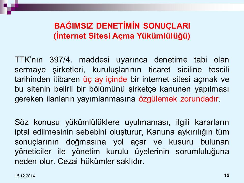 BAĞIMSIZ DENETİMİN SONUÇLARI (İnternet Sitesi Açma Yükümlülüğü)