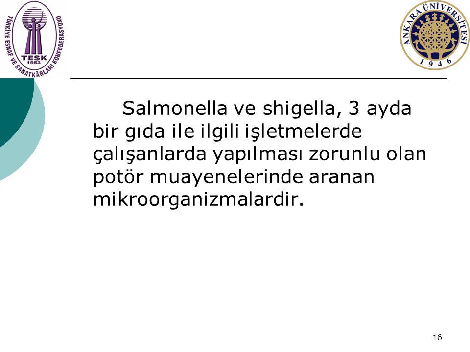 Salmonella ve shigella, 3 ayda bir gıda ile ilgili işletmelerde çalışanlarda yapılması zorunlu olan potör muayenelerinde aranan mikroorganizmalardir.