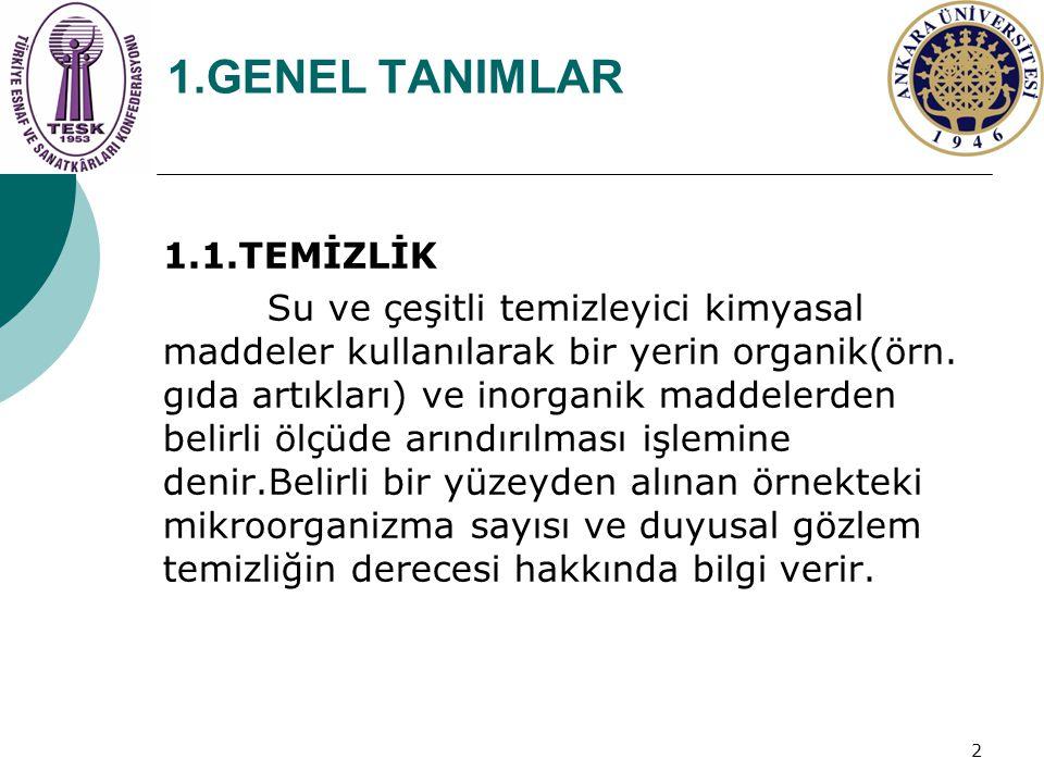 1.GENEL TANIMLAR 1.1.TEMİZLİK