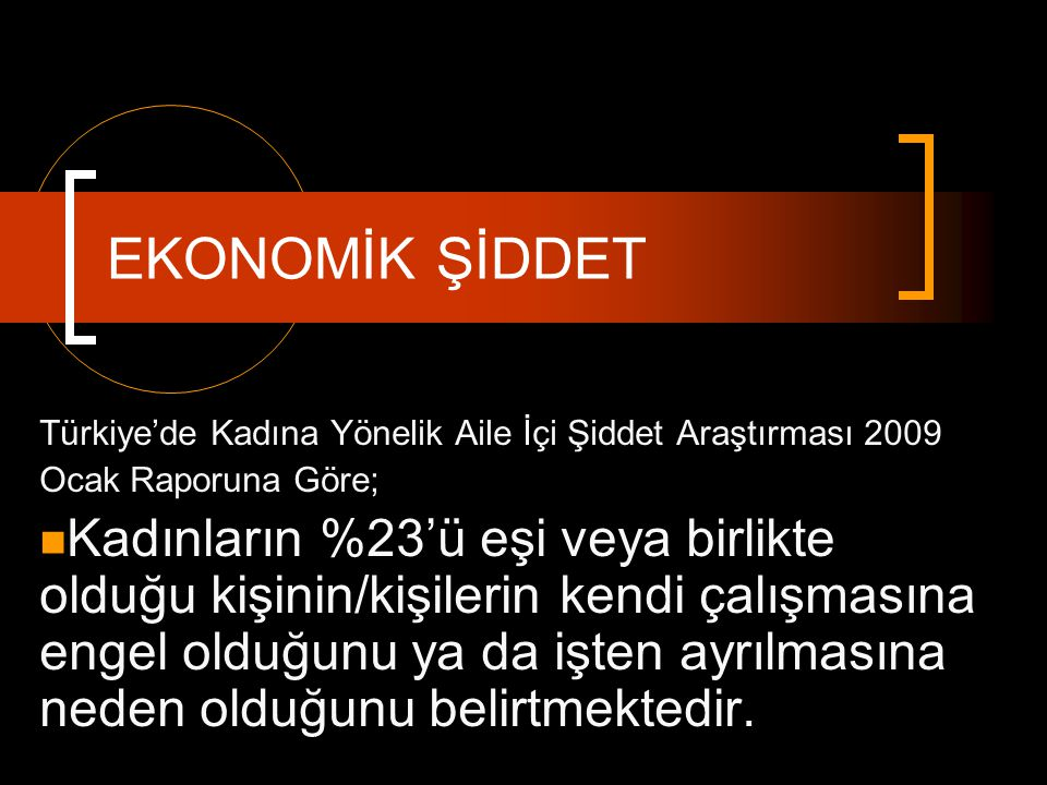 EKONOMİK ŞİDDET Türkiye'de Kadına Yönelik Aile İçi Şiddet Araştırması 2009. Ocak Raporuna Göre;