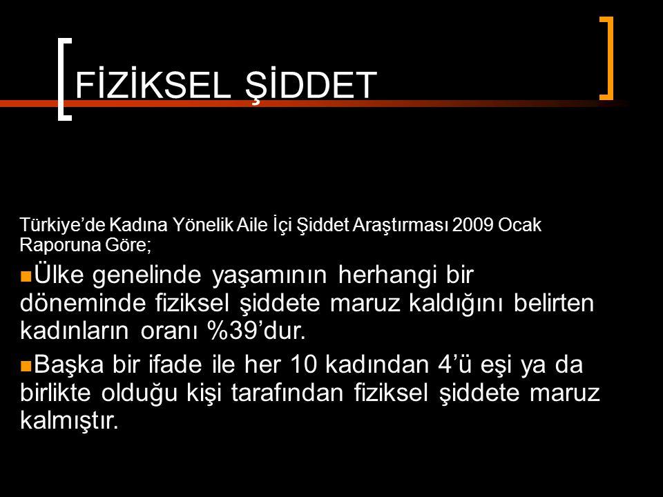 FİZİKSEL ŞİDDET Türkiye'de Kadına Yönelik Aile İçi Şiddet Araştırması 2009 Ocak Raporuna Göre;