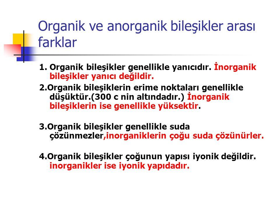 Organik ve anorganik bileşikler arası farklar